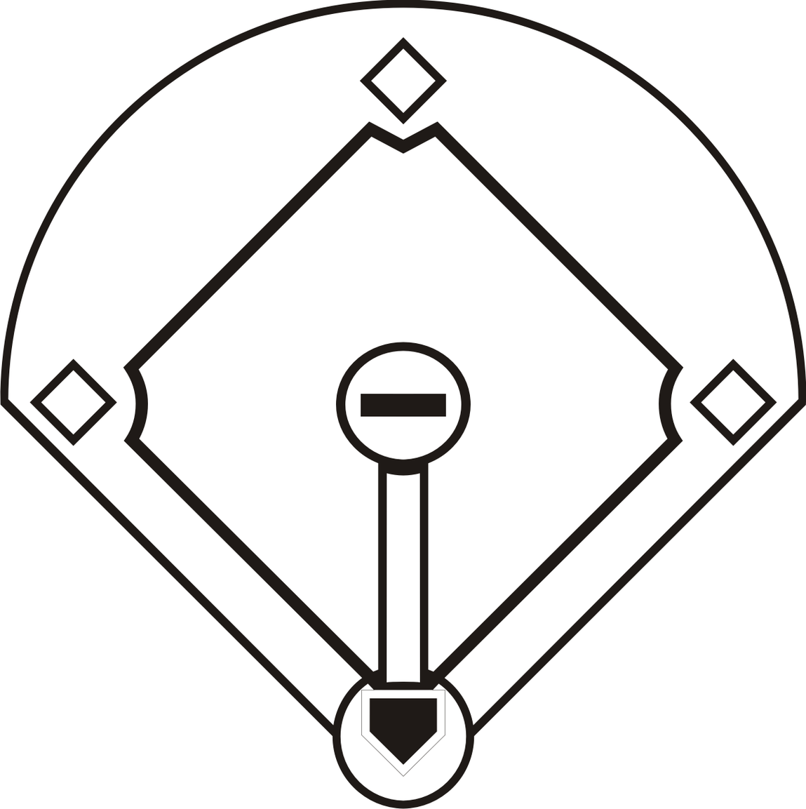 Black And White Baseball Field Free Clipart