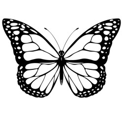 Black And White Simple Butterfly Clipart