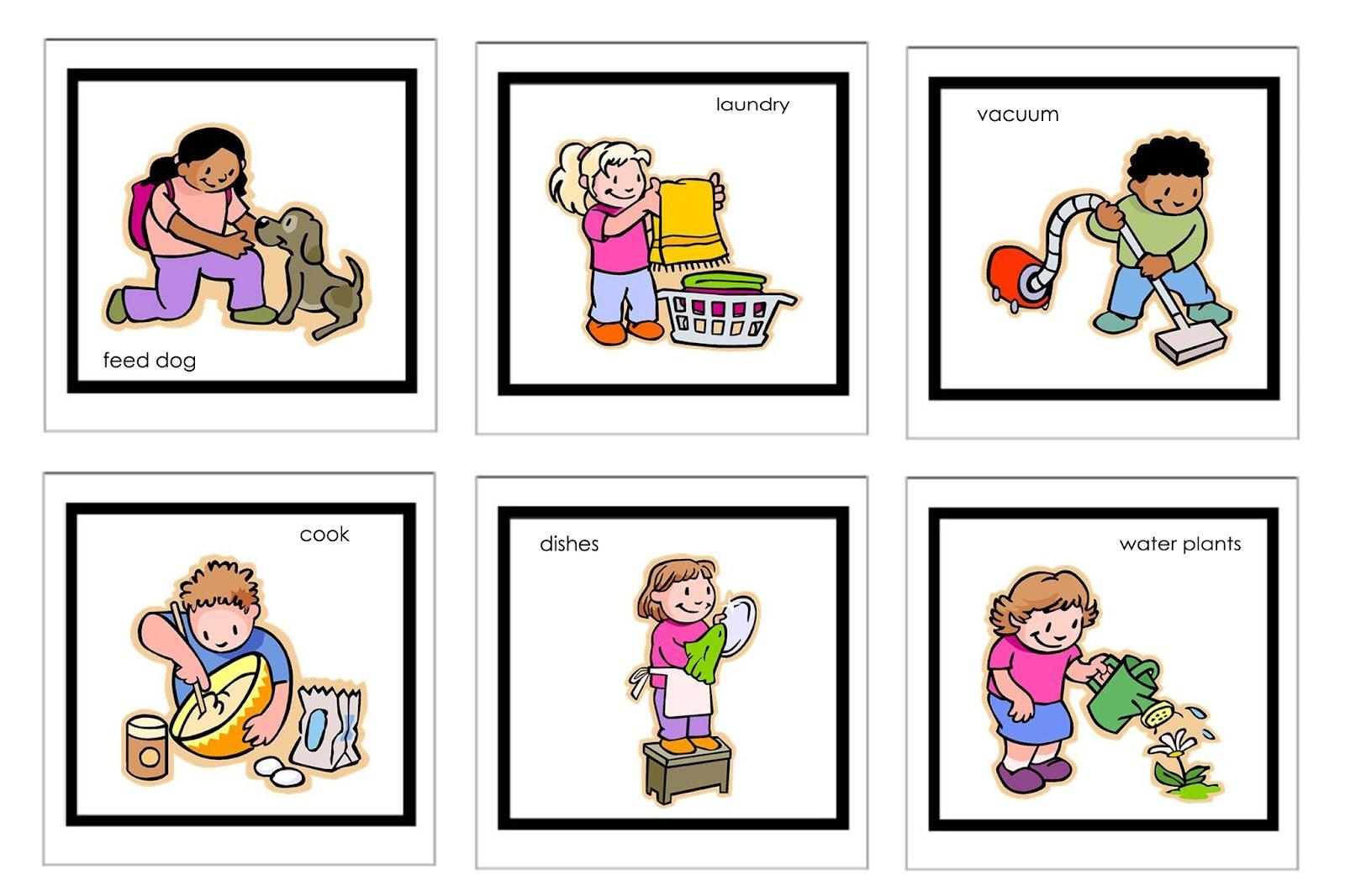 hight resolution of children doing household chores clipart
