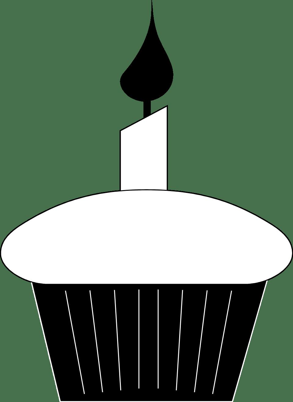 Cupcake Black And White Birthday Cupcake Clip Art Black And White