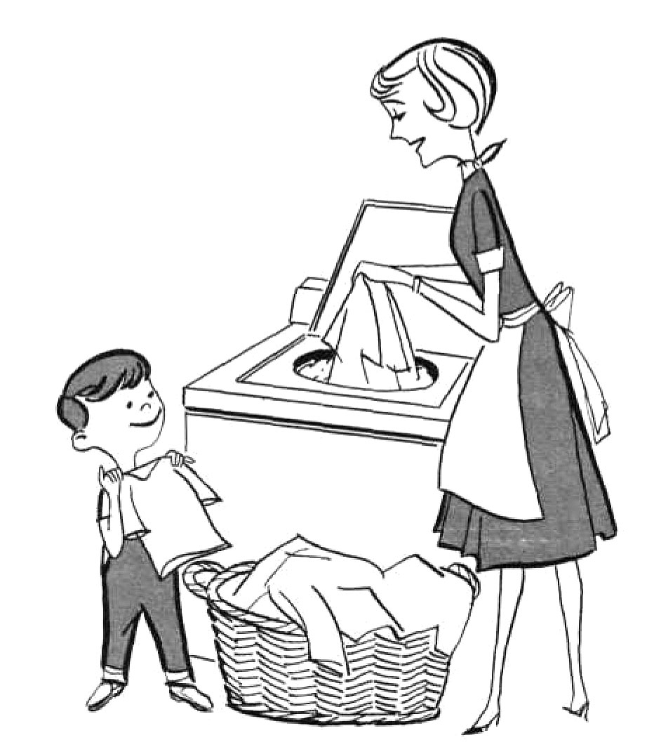 hight resolution of mother doing household chores clipart