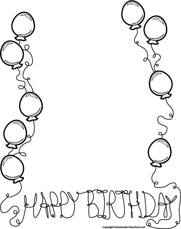 Birthday Black And White Black And White Birthday Clip Art
