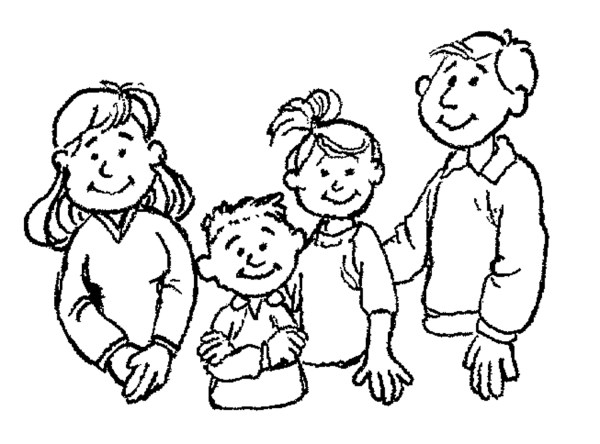 family black and white clipart