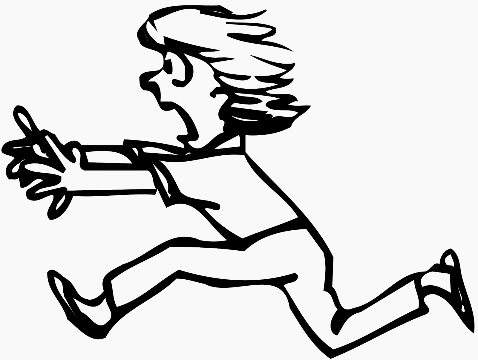 Person Running Away Clipart 2