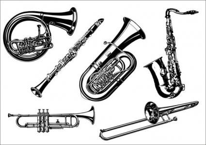Vector musical instrument trumpet tuba free vector in