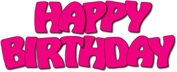happy birthday pink clipart
