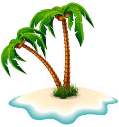 palm trees and island clipart image [ 4000 x 4166 Pixel ]