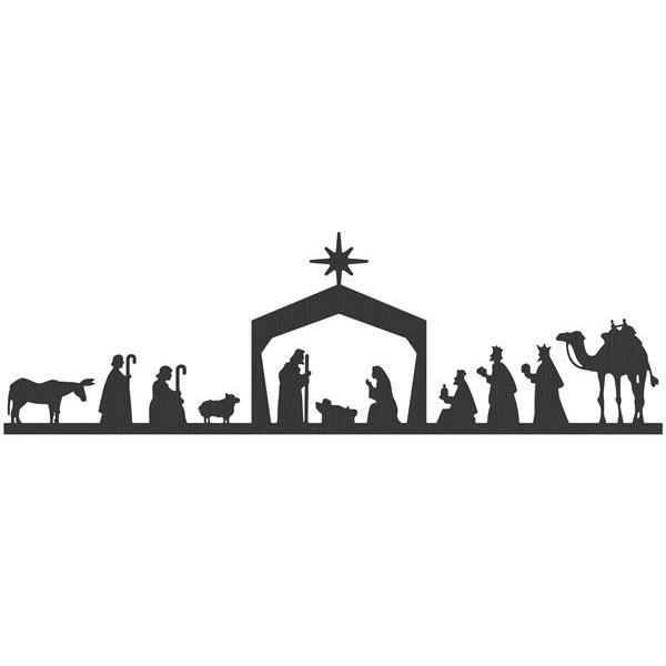 Nativity black and white black nativity scene clipart