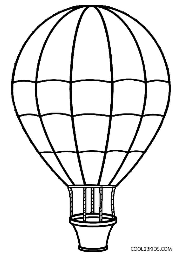 Hot air balloon black and white printable hot air balloon