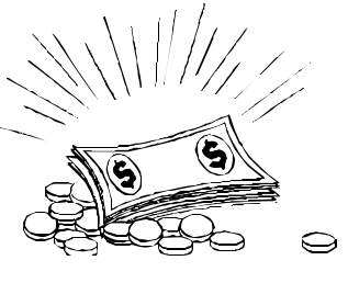 money black and white clipart