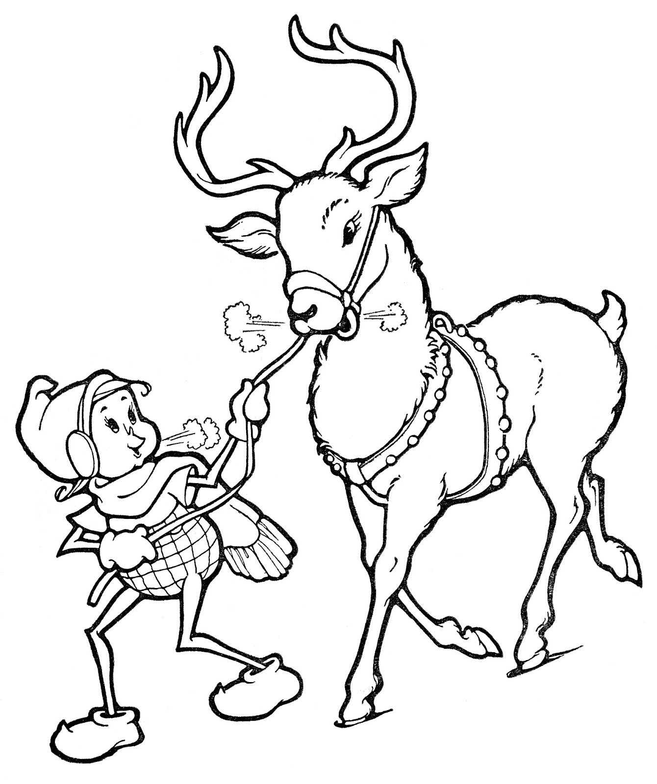 Elf Black And White Christmas Line Art Elf With Reindeer