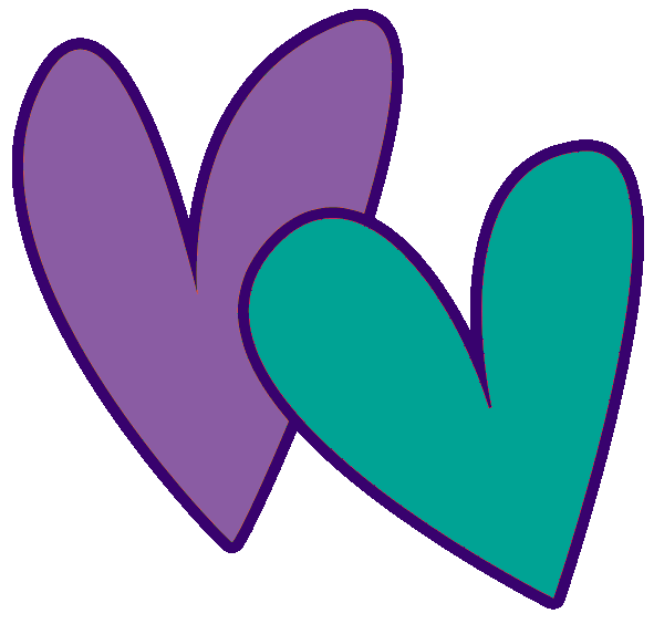 teal double heart clipart - wikiclipart