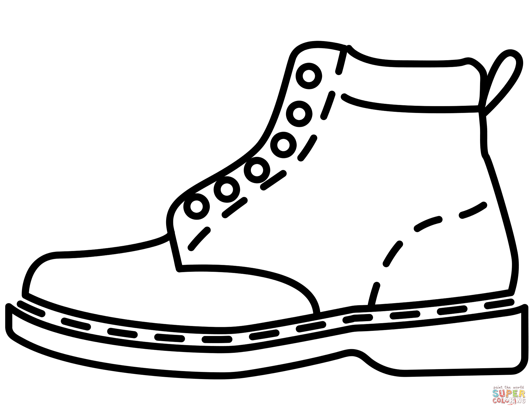 Hiking Boots Clip Art Coloring Page Sketch Coloring Page