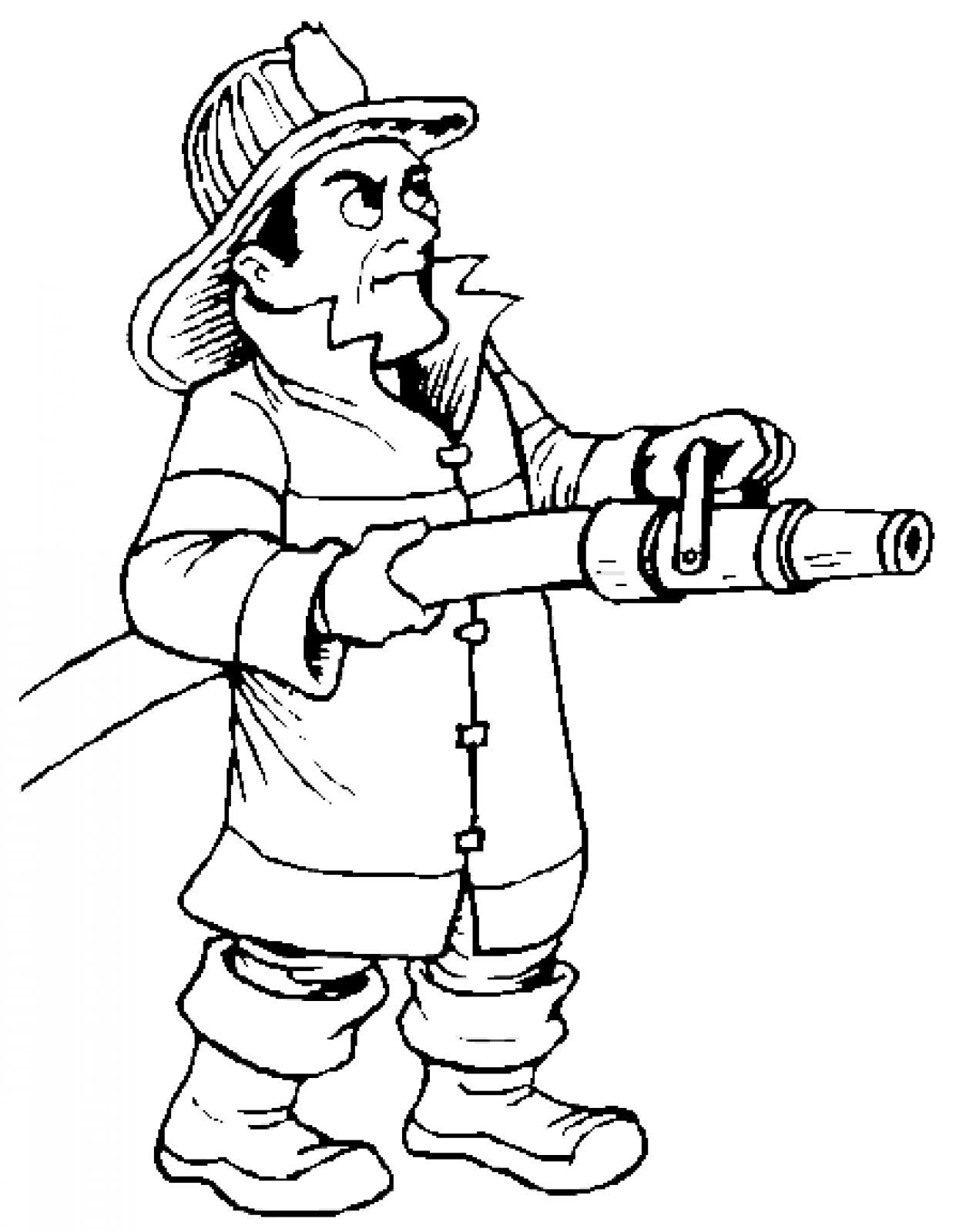 Firefighter Black And White Firefighter Cartoon Fire