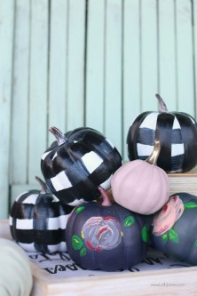 Easy-Simple-Painted-Buffalo-Check-Floral-Faux-Pumpkins
