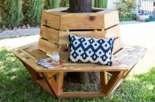 how to build a hexagon cedar bench