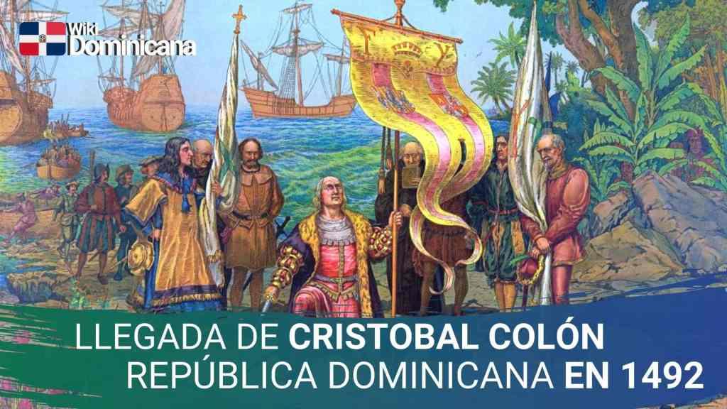 Ilustración de Cristóbal Colón en su llegada a América, el 12 de octubre de 1492