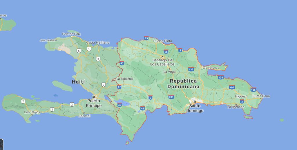 Mapa de República Dominicana fondo azul 2020