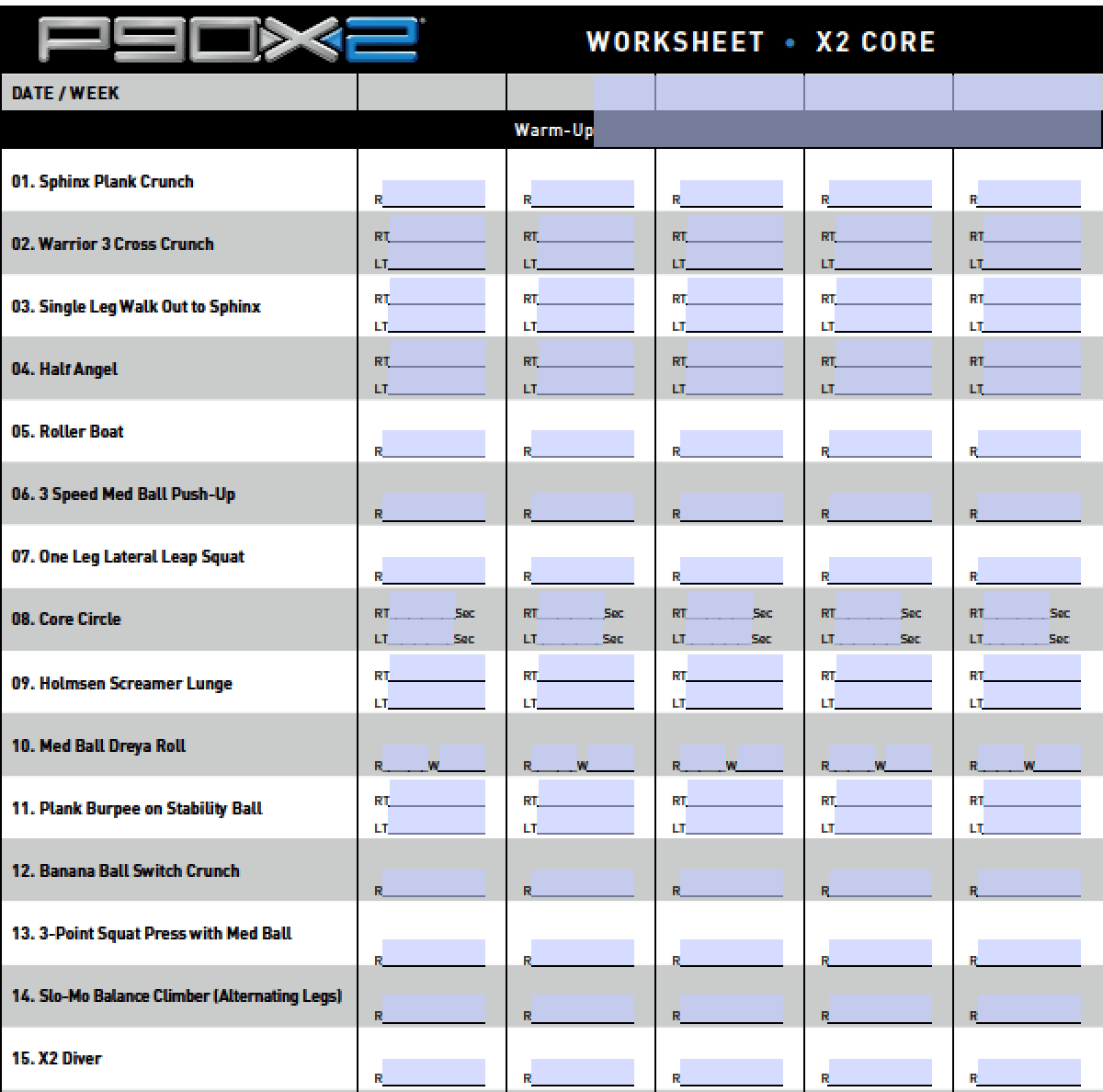 P90x2 Workout Sheets