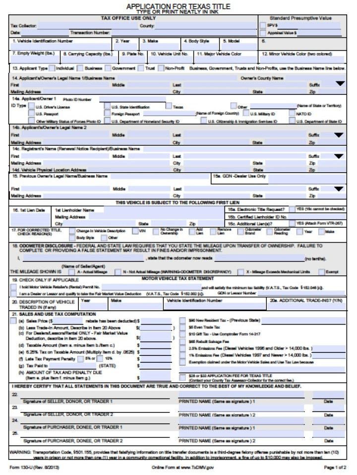texas department of motor vehicles form 130 u | simplexstyle