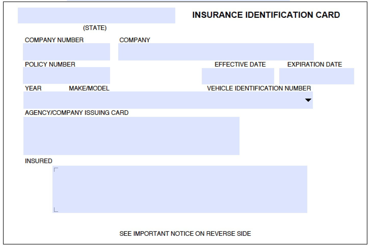 Vehicle Insurance Vehicle Insurance Card Template