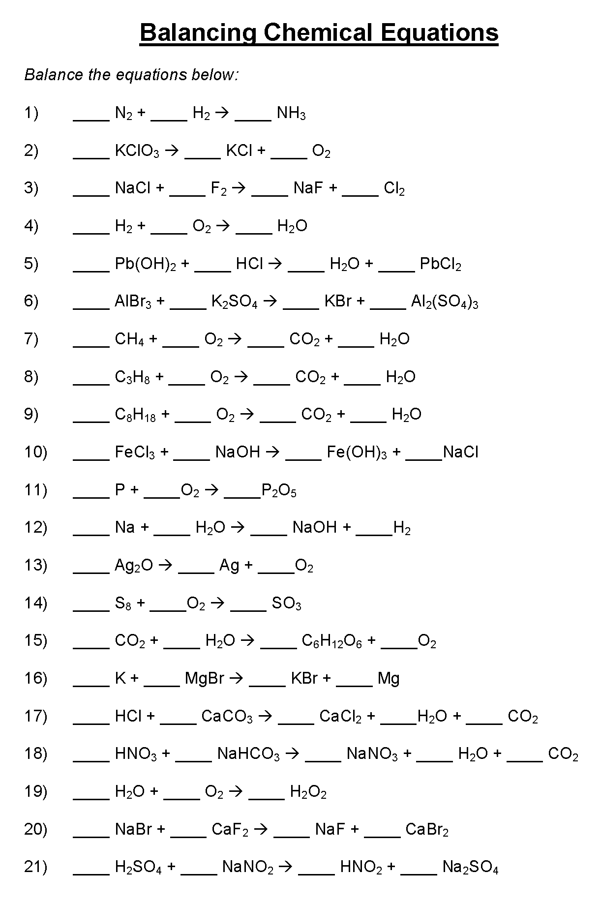 Chemical Equations Worksheet Doc