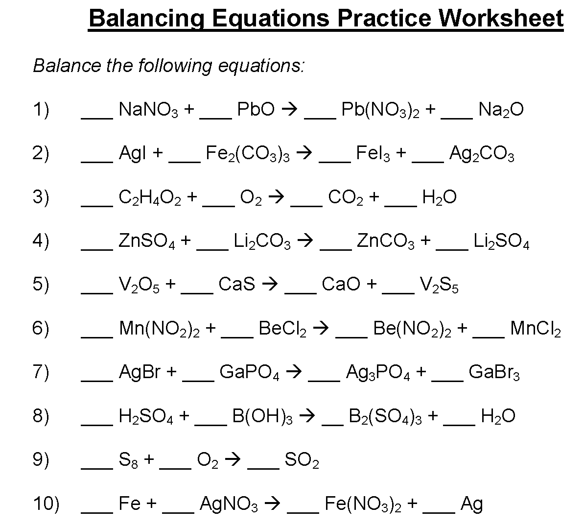 Balancing Equations Practice Worksheet Answer Key Chemfiesta