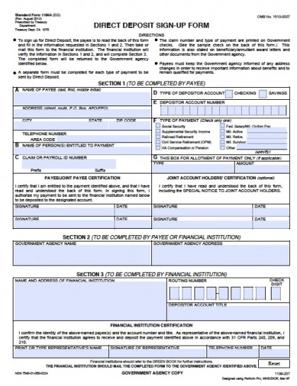 Download Federal Direct Deposit Sign Up Form   SF-1199A-2012 ...