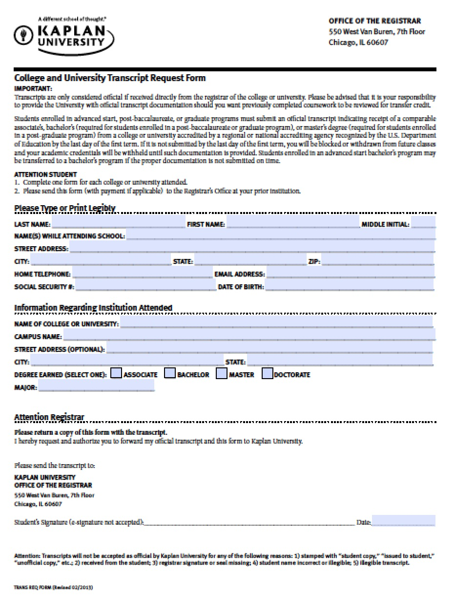 Download Kaplan University Online Transcript Request Form | PDF ...