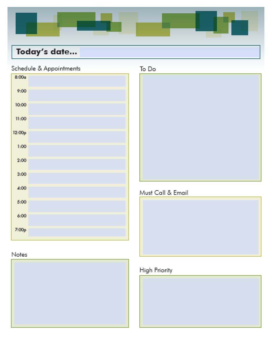 Fillable Daily Schedule