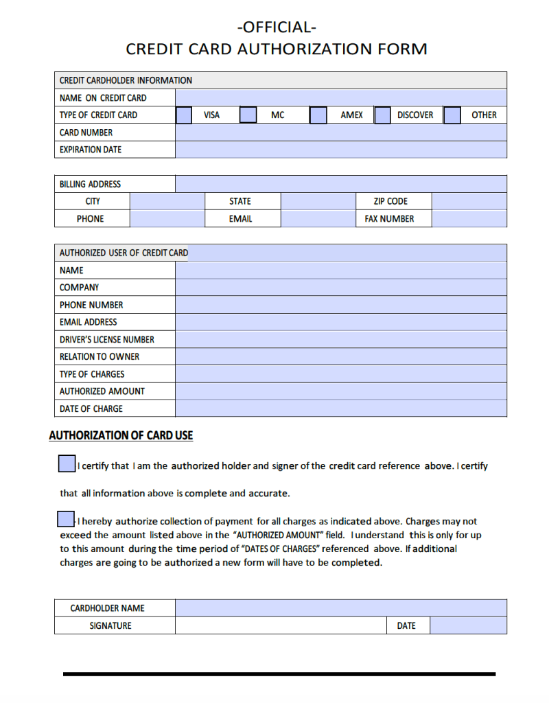 Download Sample Credit Card Authorization Form Template | PDF | Word ...