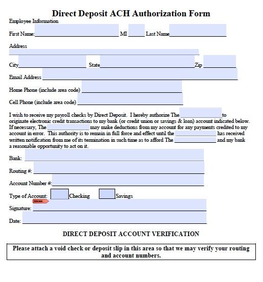 ach deposit form