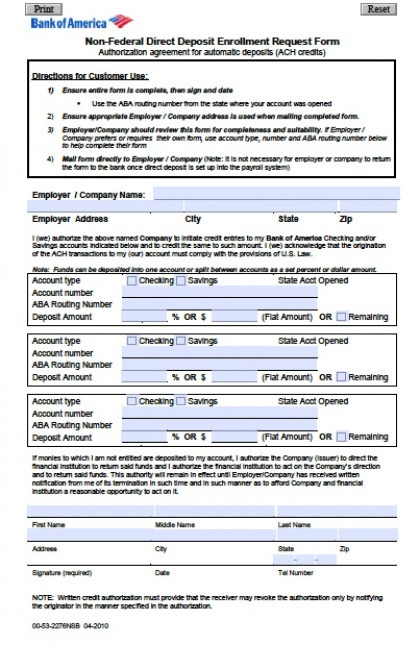 direct deposit form template free