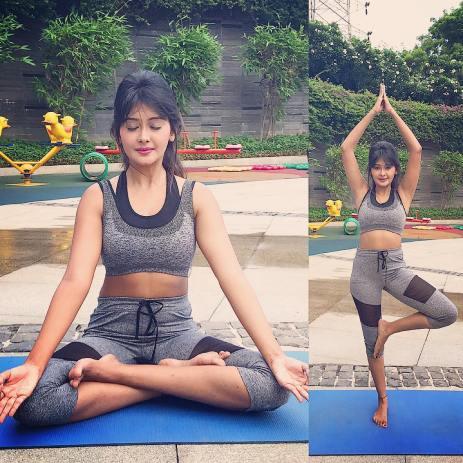 Kanchi practising yoga