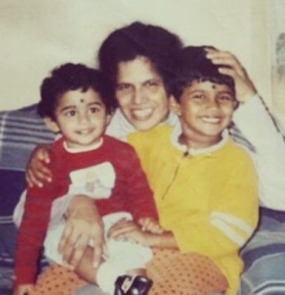 Childhood Pic with mother & sister