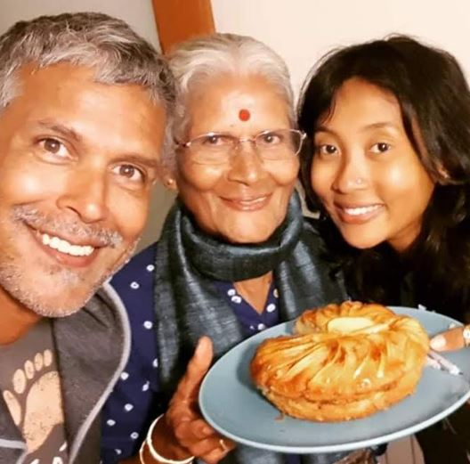 Milind Soman with mother