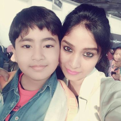 Manjula with her son