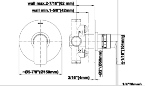 Lima Solid Brass In Wall Mixer Control Valve for Fontana
