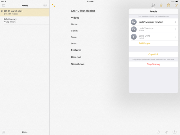 Use Notes In iOS 10