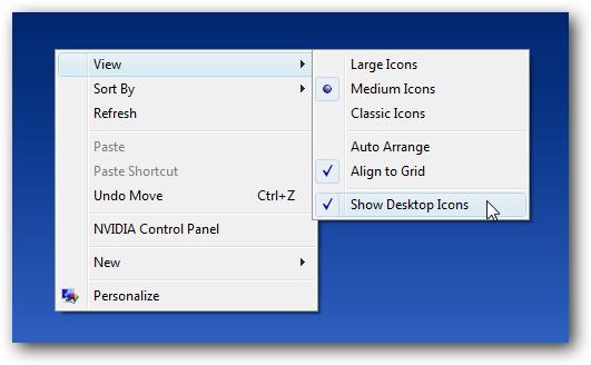 turn desktop icons on