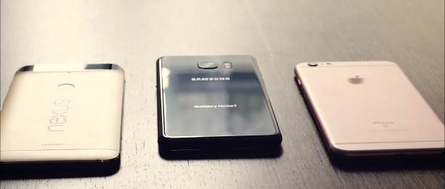 Samsung Galaxy Note7, iPhone 6S, Nexus 6P