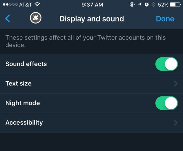 """find the Night mode under the """"display and sound"""" section"""