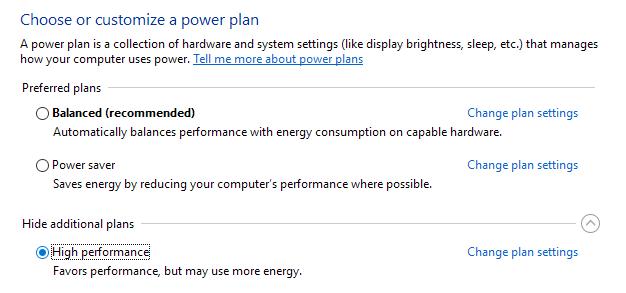 Use High Performance Power Plan