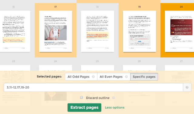Extract Pages button
