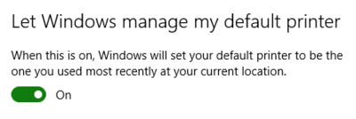 Let Windows manage my default printer
