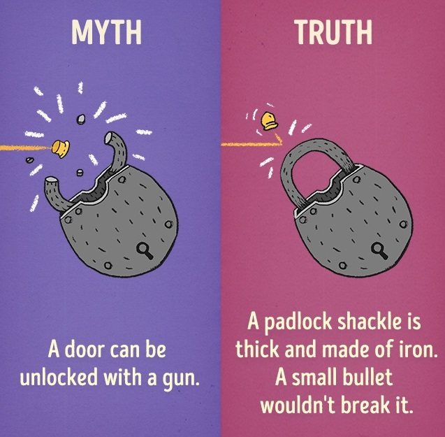 A door can be unlocked with gun