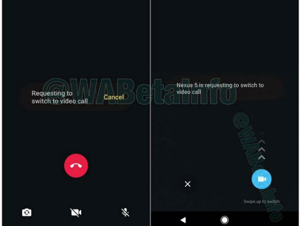 Whatsapp voice to video calls