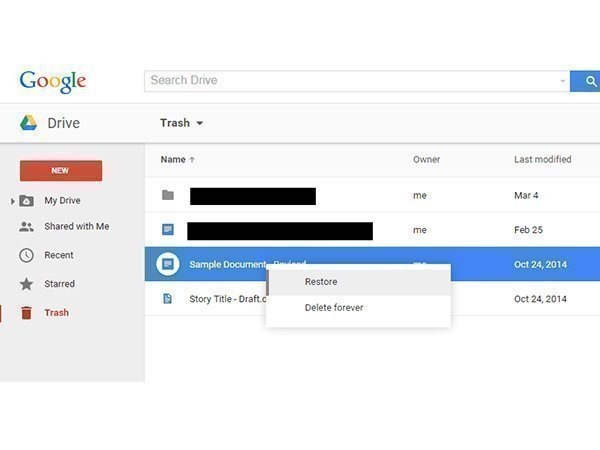 Recover Deleted Files in Google Drive