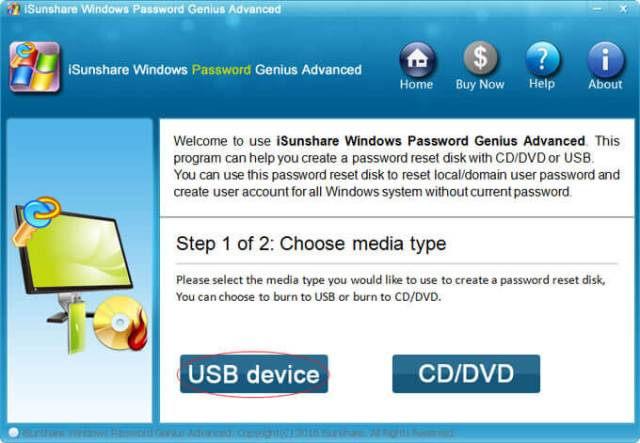 select one option to reset forgotten Windows Vista password
