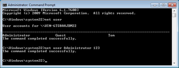 done with reset Windows Vista password in safe mode